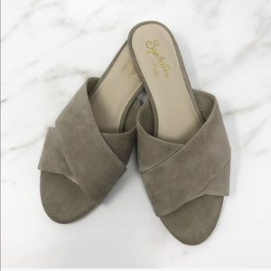 Seychelles Sandals Cross Over Suede Flats 6.5